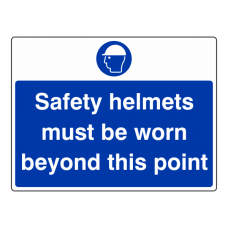 Safety Helmets Must Be Worn Beyond This Point Sign (Large Landscape)