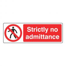 Strictly No Admittance Sign (Landscape)