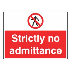 Strictly No Admittance Sign (Large Landscape)