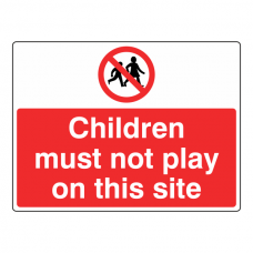 Children Must Not Play On This Site Sign (Large Landscape)