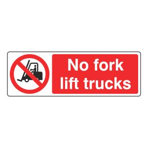 No Fork Lift Trucks Sign (Landscape)