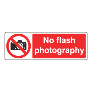 No Flash Photography Sign (Landscape)