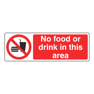 No Food Or Drink In This Area Sign (Landscape)