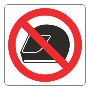 No Motorcycle Helmets Logo Sign