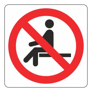 No Sitting Logo Sign