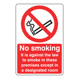 No Smoking Except In Designated Room Sign Portrait