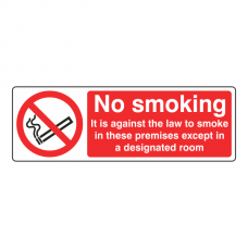 No Smoking Except A Designated Room Sign (Landscape)