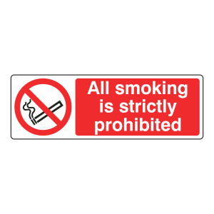 All Smoking Strictly Prohibited Landscape Sign (Landscape)