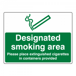 Designated Smoking Area - Extinguished Cigarettes Sign (Large Landscape)