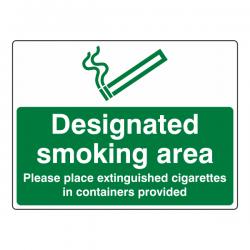 Designated Smoking Area - Extinguished Cigarettes Sign (Large Landscape)