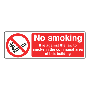 No Smoking In Communal Area Of Building Sign (Landscape)