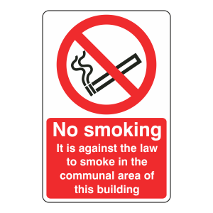 No Smoking In Communal Area Of Building Sign