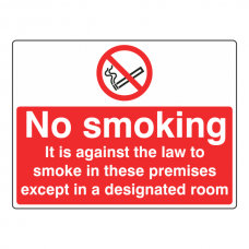 No Smoking Except In Designated Room Sign (Large Landscape)