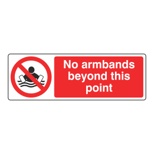 No Armbands Beyond This Point Sign (Landscape)