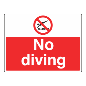 No Diving Sign (Large Landscape)