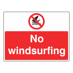 No Windsurfing Sign (Large Landscape)