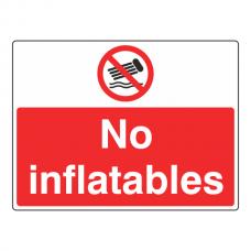 No Inflatables Sign (Large Landscape)