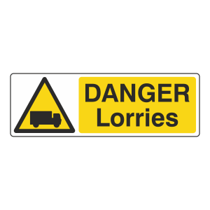 Danger Lorries Sign (Landscape)