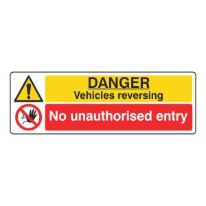 Vehicles Reversing / No Unauthorised Entry Sign (Landscape)