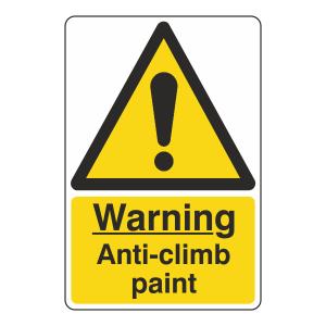 Warning Anti-Climb Paint Sign
