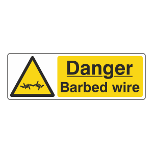 Danger Barbed Wire Sign (Landscape)