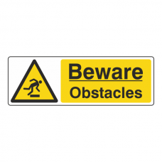 Beware Obstacles Sign (Landscape)