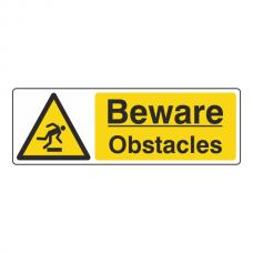 Beware Obstacles Sign (Landscape)