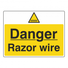 Danger Razor Wire Sign (Large Landscape)