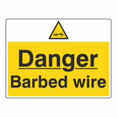 Danger Barbed Wire Sign (Large Landscape)