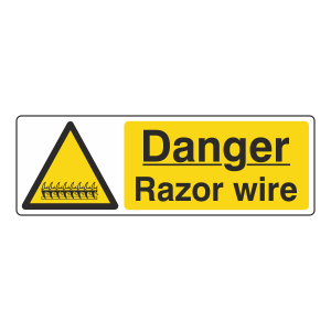 Danger Razor Wire Sign (Landscape)