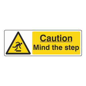 Caution Mind The Step Sign (Landscape)