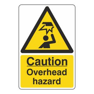 Caution Overhead Hazard Sign