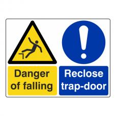 Danger Of Falling / Reclose Trap- Door Sign