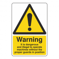 Dangerous To Operate Machine Without Proper Guards Sign