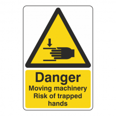 Danger Moving Machinery Risk Of Trapped Hands Sign