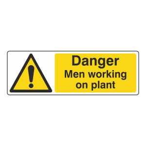 Danger Men Working On Plant Sign (Landscape)