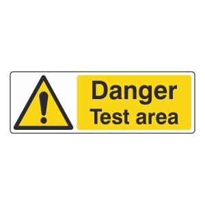 Danger Test Area Sign (Landscape)