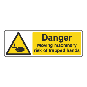 Danger Moving Machinery Risk Of Trapped Hands Sign (Landscape)