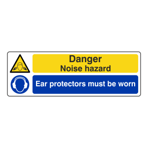 Danger Noise Hazard / Ear Protectors Sign (Landscape)