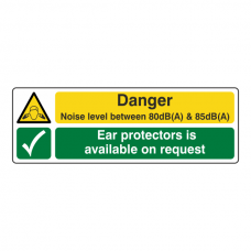 Noise Level Between 80dB(A) & 85 dB(A) /Ear Protectors Sign (Landscape)