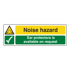 Noise Hazard / Ear Protectors On Request Sign (Landscape)