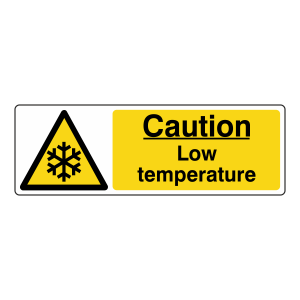 Caution Low Temperature Sign (Landscape)