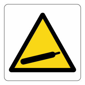 Warning Compressed Gas Logo Sign