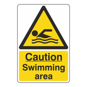Caution Swimming Area Sign