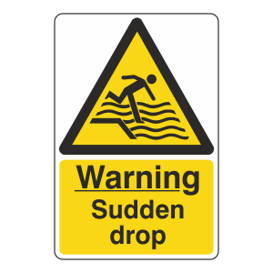 Warning Sudden Drop Sign