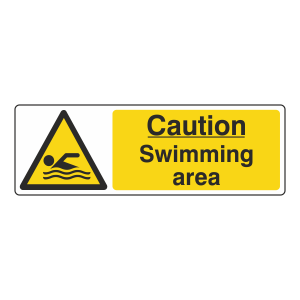 Caution Swimming Area Sign (Landscape)