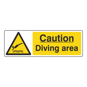 Caution Diving Area Sign (Landscape)
