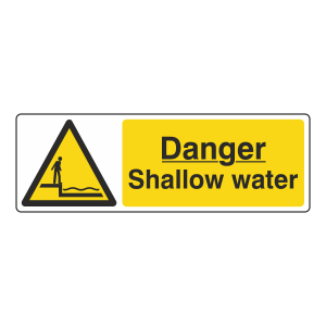 Danger Shallow Water Sign (Landscape)