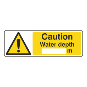 Caution Water Depth Sign (Landscape)