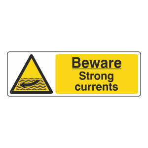 Beware Strong Currents Sign (Landscape)